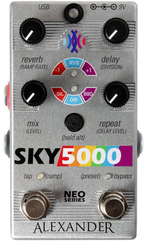 Alexander Sky 5000 Reverb Delay Pedal (Silver)