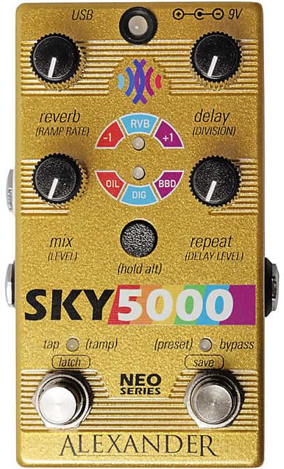 Alexander Sky 5000 Reverb Delay Pedal (Gold)