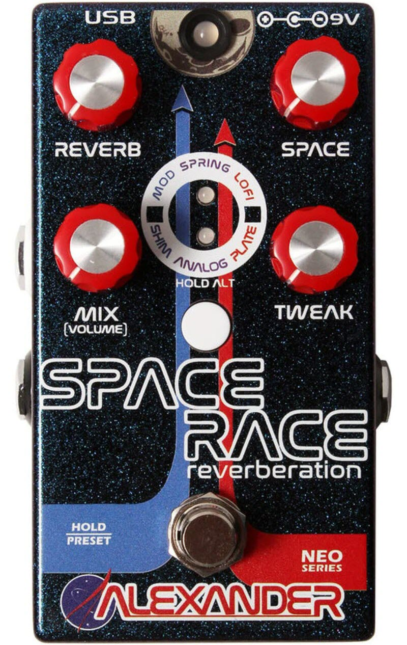 Alexander Space Race Reverb Pedal (Black/Red/Blue)