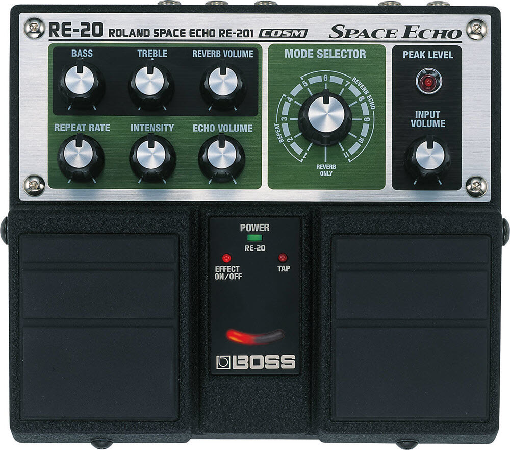 Boss Roland RE-20 Space Echo Delay Reverb Pedal (Black/Green)