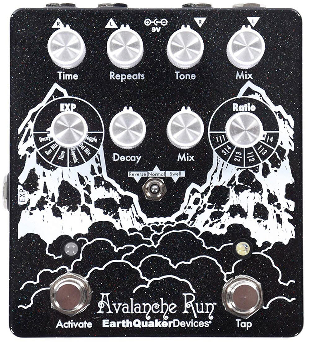 Earthquaker Avalanche Run Stereo Delay Reverb Tap Tempo Pedal (Black)