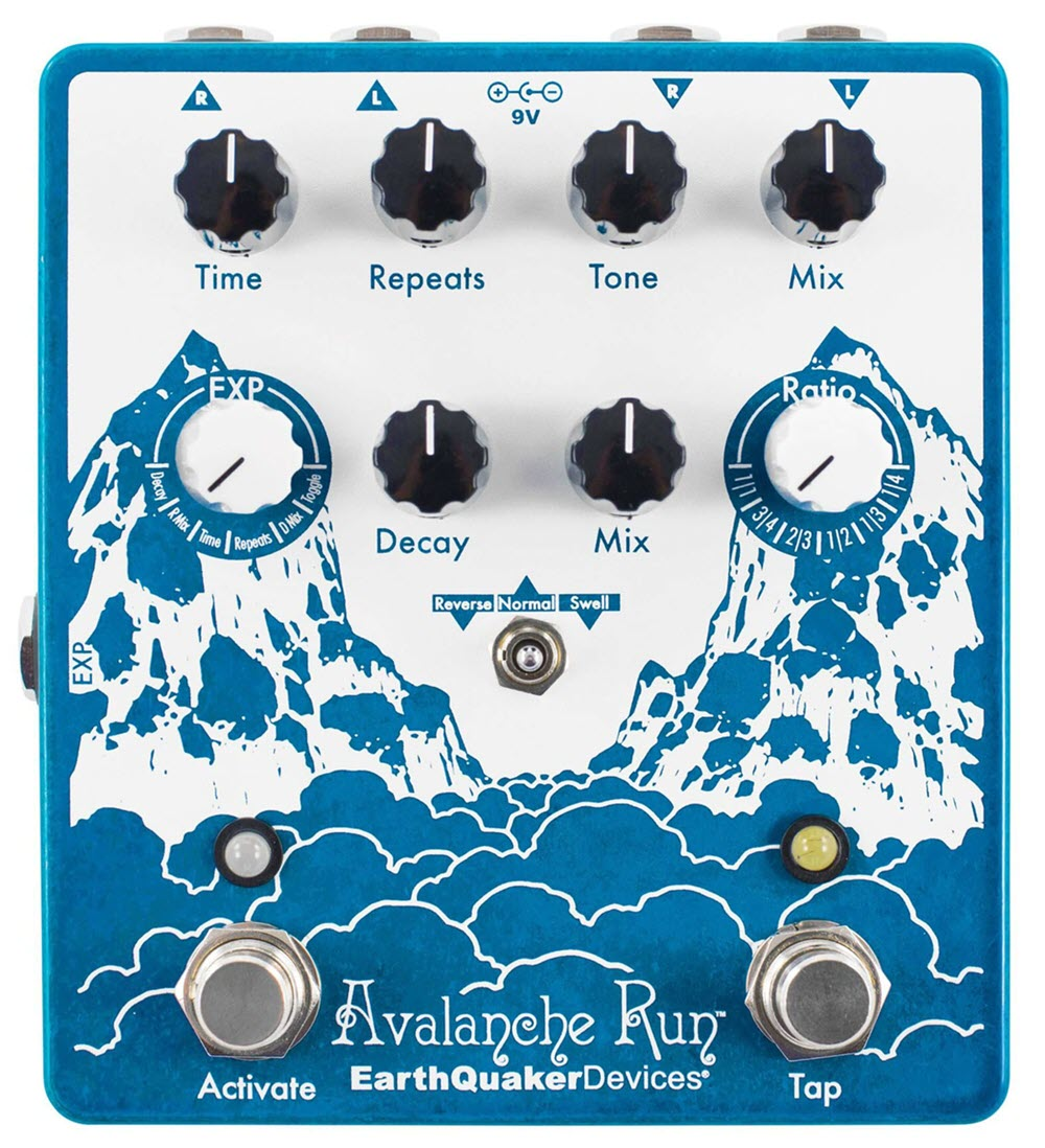 Earthquaker Avalanche Run Stereo Delay Reverb Tap Tempo Pedal (Blue)