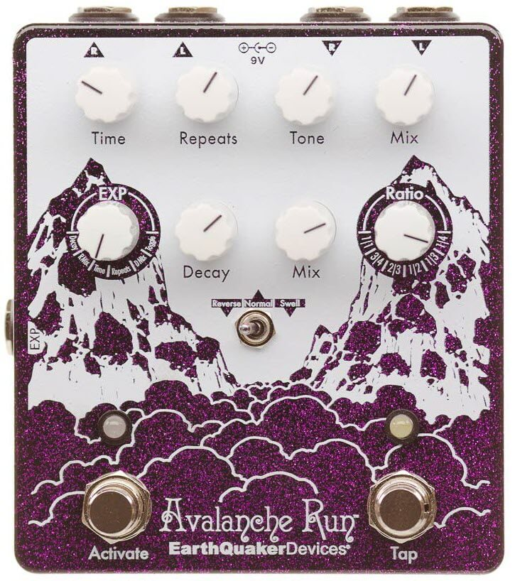 Earthquaker Avalanche Run Stereo Delay Reverb Tap Tempo Pedal (Purple Sparkle)