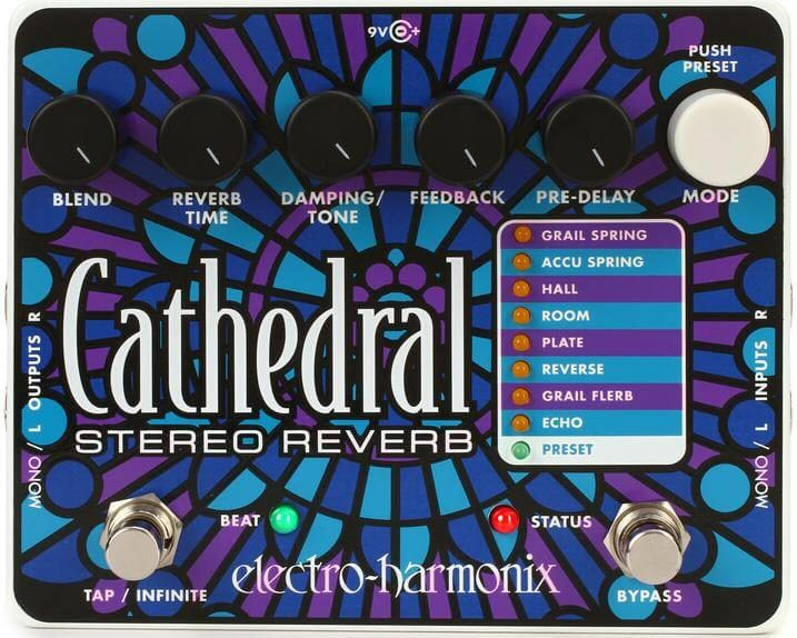 Electro-Harmonix Cathedral Stereo Reverb Pedal (Stained Glass)