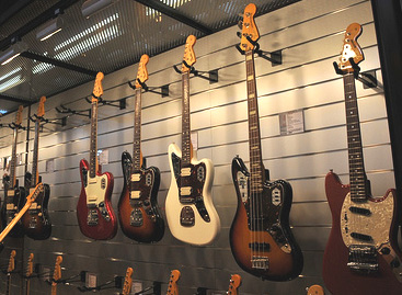 Guitar Store Display of Fender Guitars