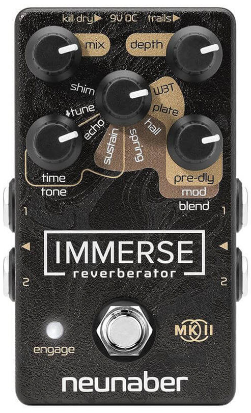 Neunaber Immerse Reverberator MK II Reverb Pedal (Black/Gold)