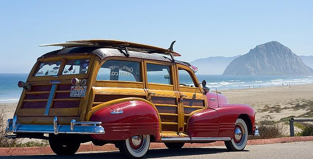 Woodie Car at the Beach with a Surfboard